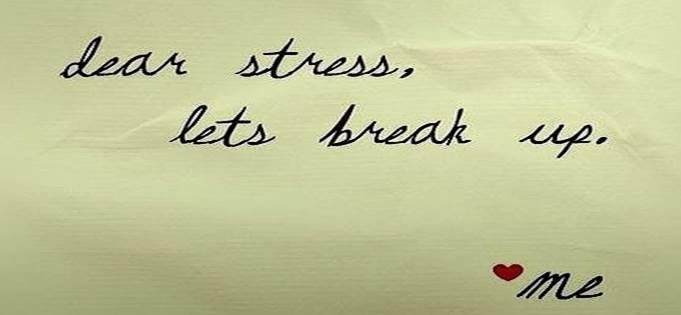 Sticky note with stress management breakup on it