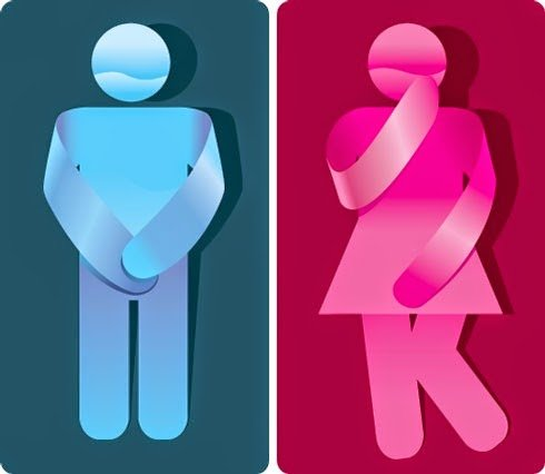 Graphic of Man and Woman protecting pelvic area with their hands