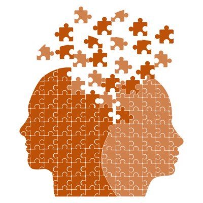graphic of two people as puzzle pieces with pieces removed around brain area - Alzheimer's disease