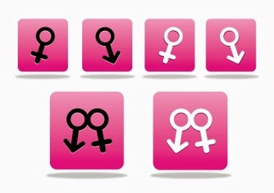 graphic of male and female symbols in pink boxes